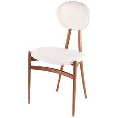 Contemporary 'Bianca' Side Chair in Walnut with Back Pan by Konekt