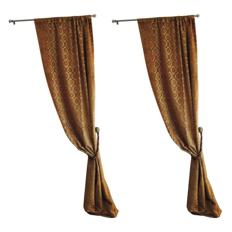 Pair of 19th Century Gold Silk Cut Velvet Goufrage Curtains For Sale