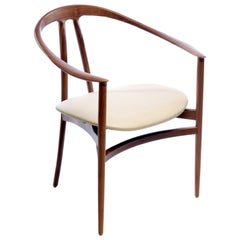 Contemporary 'Bianca' Armchair in Walnut by Konekt