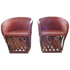 Set of Two Mexican Equipale Wood and Leather Chairs