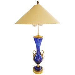 Large Murano Glass Aventurine Swan Urn Table Lamp by Barovier and Toso, Italy