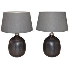 Pair of Black Glass Lamps, China, Contemporary