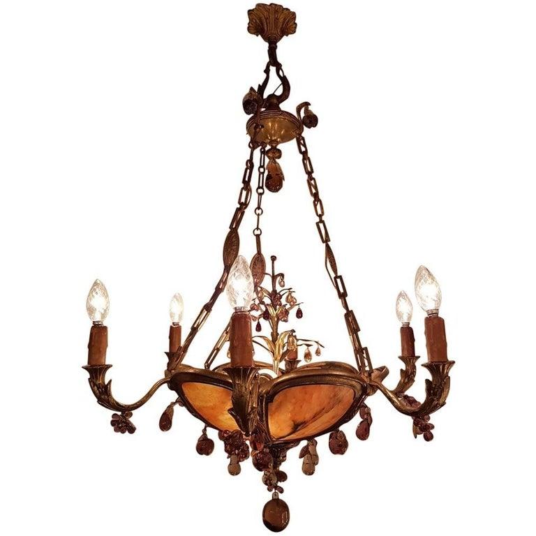 Gilt Bronze and Alabaster Chandelier with Nine Lights, Fruit Drops