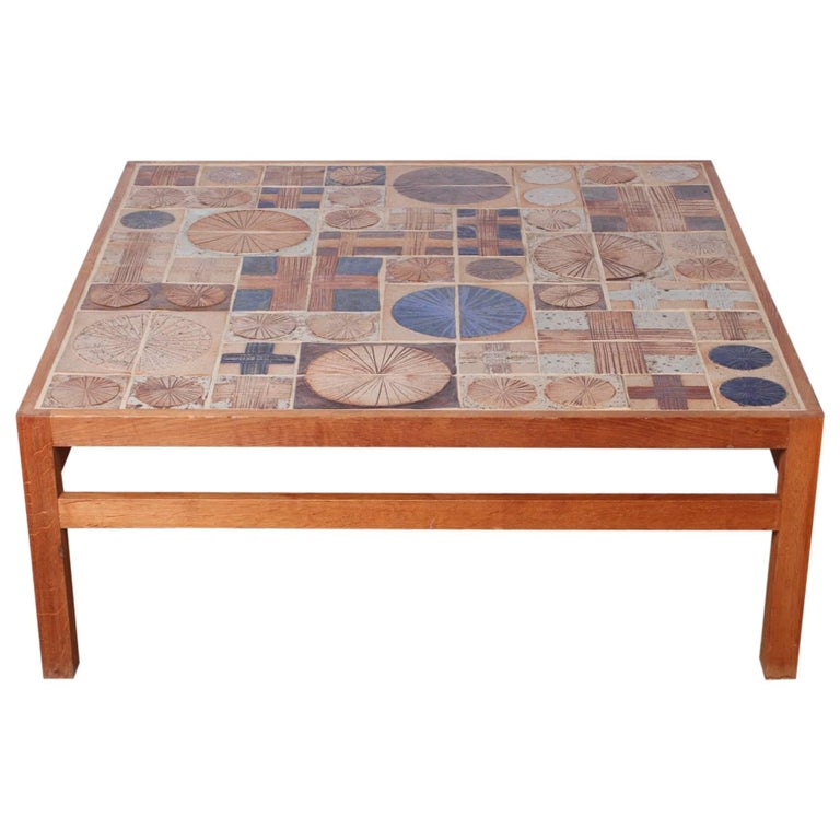 Coffee Table with Ceramic Tiles by Tue Poulsen & Willy Beck For Sale