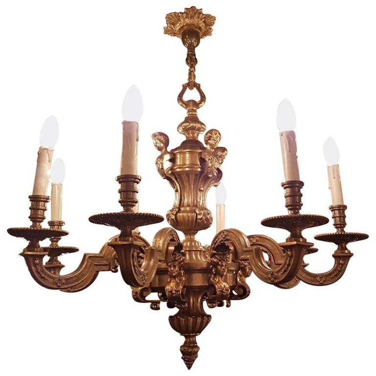 Bronze 'Mazarin' Louis XVl Style Chandelier with Eight Lights
