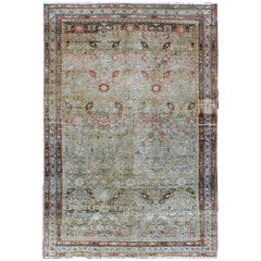 Persian Malayer Rug with Vining Blossoms Design in Red/Brown, Light Blue & Gray