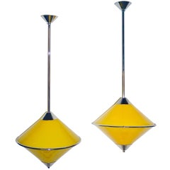 Toso 1970s Italian Chrome and Yellow Murano Glass Cone Pendants/Lanterns