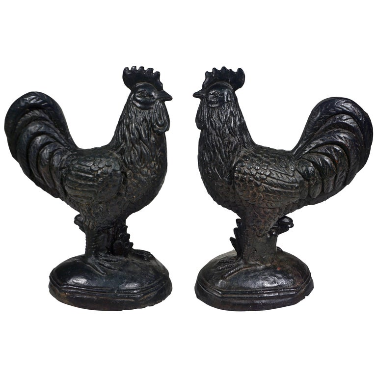 1890s Antique Pair of French Black Cast Iron Folk Art Sculpture Roosters