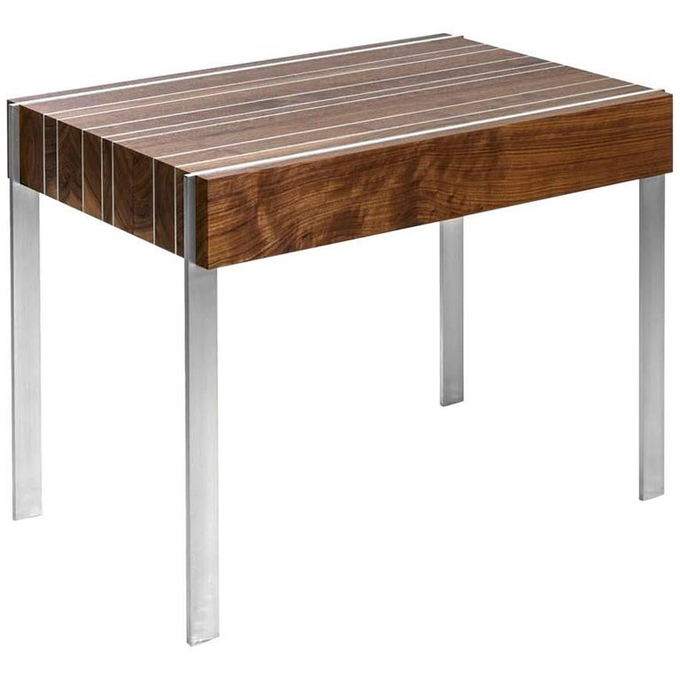 Ellis Side Table with Walnut Top and Stainless Steel Brass Inlay and Legs