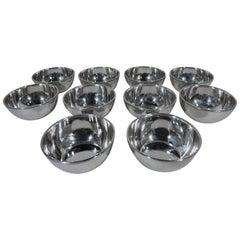 Set of Ten Gorham Sterling Silver Dessert Bowls