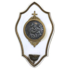19th Century Marble and Bronze Holy Water Font