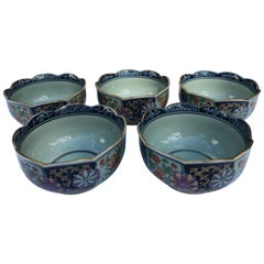 Five Japanese Hand-Painted Botanical Bowls Mint, Signed and Boxed