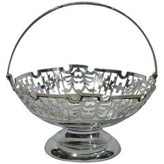 Antique Chinese Export Silver Footed Basket
