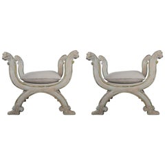 "Pair of Lion Regency Style ""X"" Benches with Linen Seats"