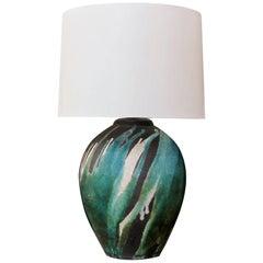 Good American 1970s Raku-Glazed Ovoid-Form Lamp