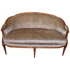 Louis XVI Style Walnut Sofa Newly Upholstered in a Leopard Pattern Chenille