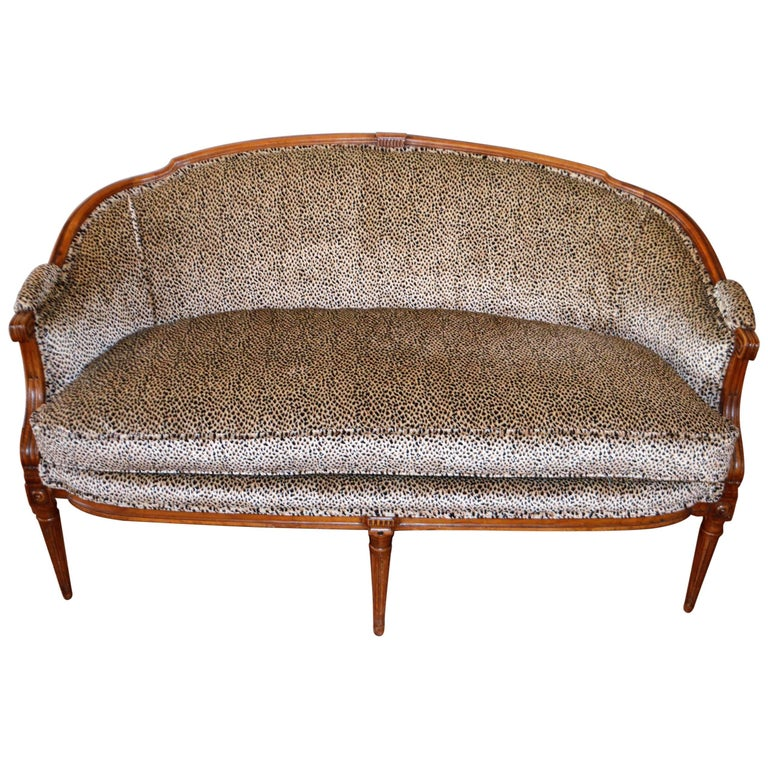 Louis XVI Style Walnut Sofa Newly Upholstered in a Leopard Pattern Chenille For Sale