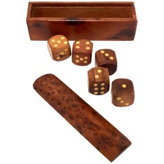 Mid-Century Modern Solid Burl Wood Dice Game