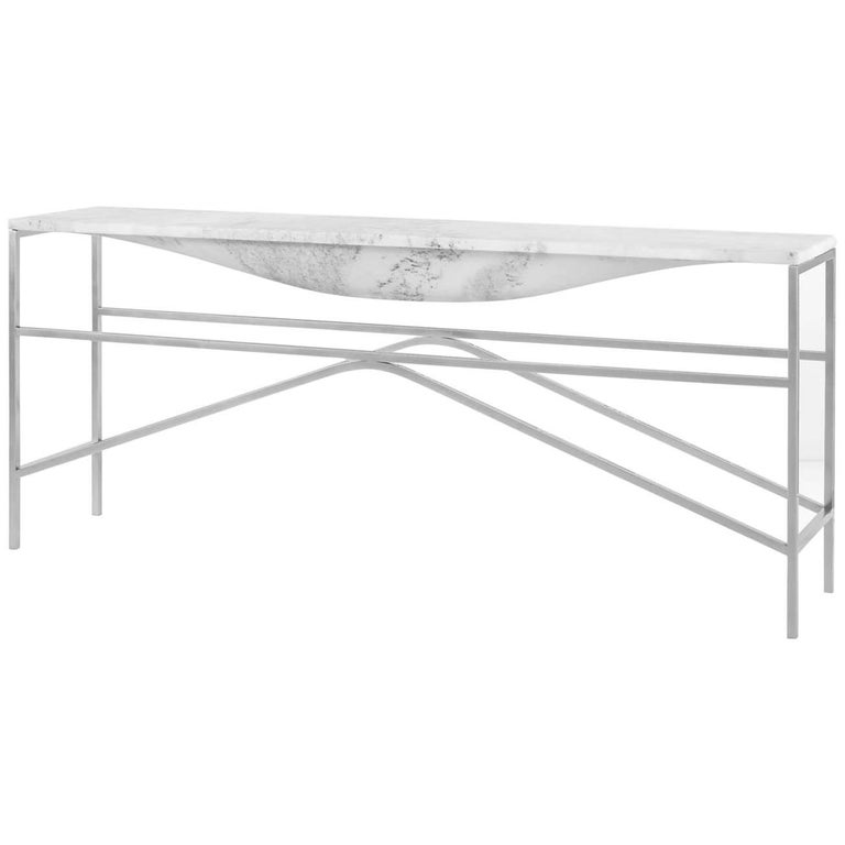 Overlin Console or Sofa Table in Solid Hewn Marble with Nickel Base