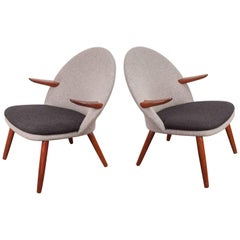 Pair of Kurt Olsen Easy Chairs for Glostrup Mobelfabrik