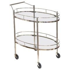 Signed Midcentury Maxwell-Phillips Oval Bar Cart or Trolley