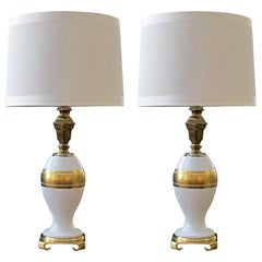 Elegant Pair of German White Porcelain Lamps with Gilt Decoration