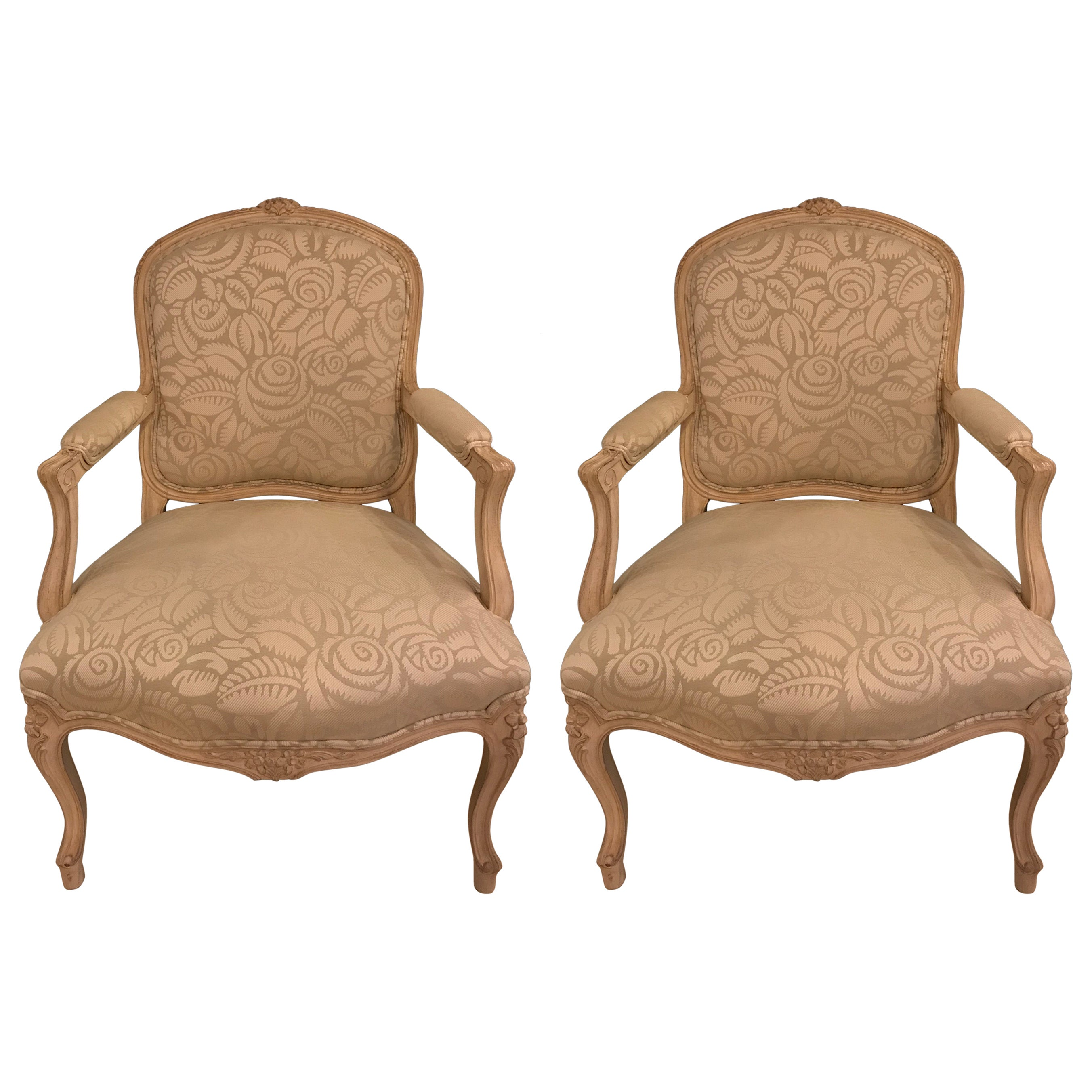 Pair of Louis XV Style Bergère Armchairs