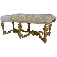 Louis XIV Style Carved Giltwood Bench