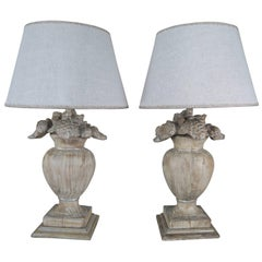 Carved French Floral Urn Lamps with Linen Shades, Pair
