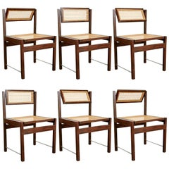 Brazilian Hardwood Tilt-Back Caned Dining Chairs, circa 1965