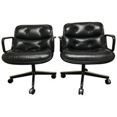 Charles Pollock Leather Executive Office Chairs for Knoll