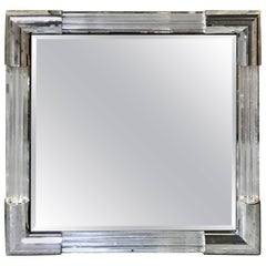 Midcentury Charles Hollis Jones Style Lucite and Chrome Square Mirror