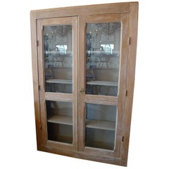 French 19th Century Narrow Glass Cabinet with Two Doors and Three Shelves
