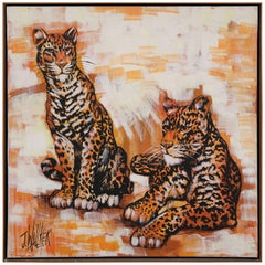 Very Realist Oil on Canvas of Two Panthers by J. Wallker