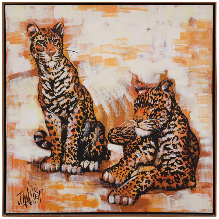 Very Realist Oil on Canvas of Two Panthers by J. Wallker For Sale