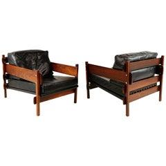 "Sergio Rodrigues Solid Jacaranda Rosewood ""Franco"" Lounge Chairs, Brazil"