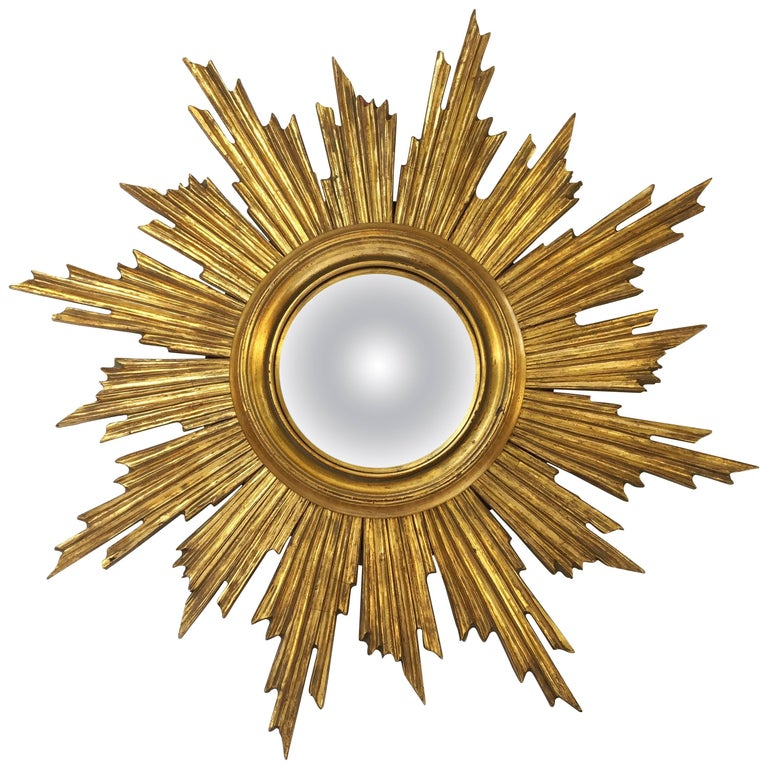 French gilt sunburst or starburst convex mirror for sale for Convex mirror