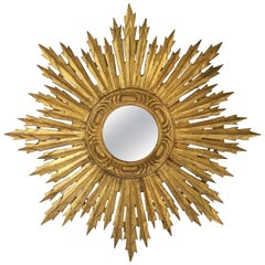 French Gilt Sunburst or Starburst Mirror (Diameter 24)