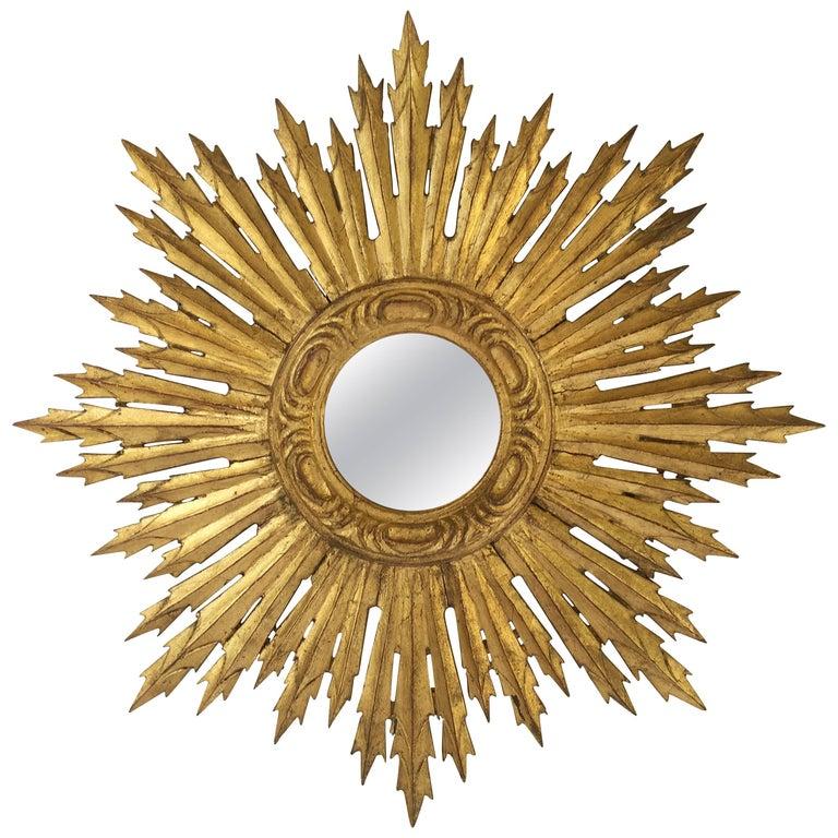French Gilt Sunburst or Starburst Mirror (Diameter 24) For Sale