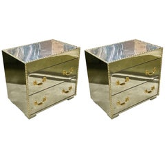 Pair of Midcentury Chrome and Brass Studded Chests