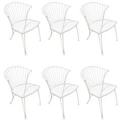 Six Midcentury Fan Back Garden Chairs, in White
