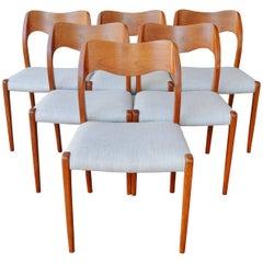 N.O. Moller Model #71 Teak Dining Chairs for J.L. Moller, Set of Six, Denmark