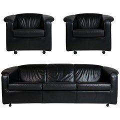 Paolo Piva for Wittmann Leather Sofa and Lounge Chairs, Austria, circa 1980
