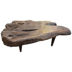 Andrianna Shamaris Single Charred Teak Wood Coffee Table
