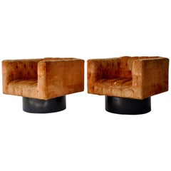 Pair of Swivel Cube Lounge Chairs