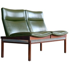 Arthur Umanoff Walnut and Aluminum Sofa or Bench for Madison Furniture, 1950s