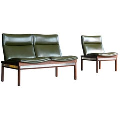 Arthur Umanoff Walnut Modular Sofa and Chair Set for Madison Furniture, 1950s