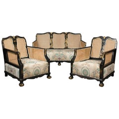 Aesthetic Movement Antique Conservatory Suite, Chinoiserie Bergere, circa 1890