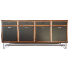 Mid-Century Modern Credenza in Walnut, Lucite, Black Leather and Chrome