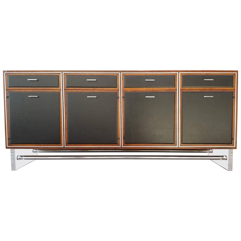 Credenza in Lucite, Leather and Chrome